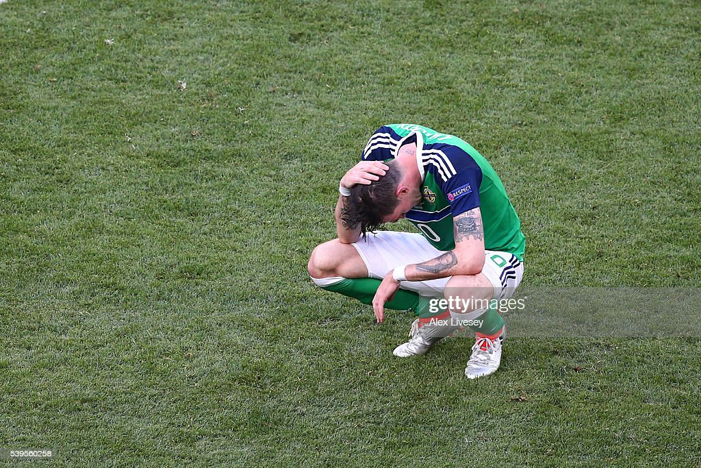 Kyle Lafferty of Northern Ireland shows his dejection after the UEFA EURO 2016 Group C match between Poland and Northern Ireland at Allianz Riviera Stadium on June 12, 2016 in Nice, France.