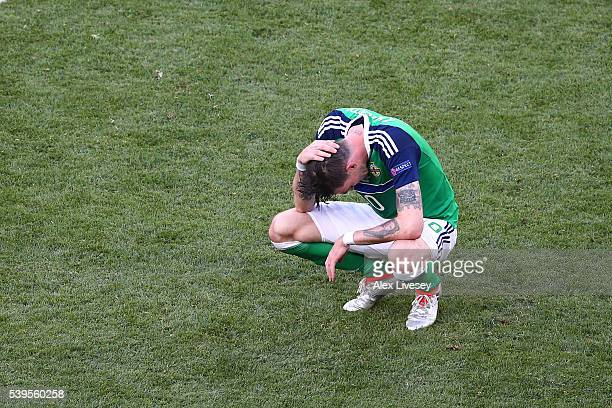 Kyle Lafferty of Northern Ireland shows his dejection after the UEFA EURO 2016 Group C match between Poland and Northern Ireland at Allianz Riviera...