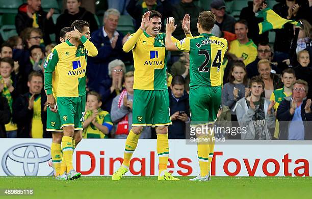 Kyle Lafferty of Norwich City celebrates his first goal during the Capital One Cup Third Round match between Norwich City and West Bromwich Albion at...