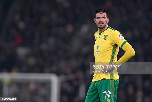 Kyle Lafferty of Norwich City looks on during the Sky Bet Championship match between Derby County and Norwich City at iPro Stadium on November 26...