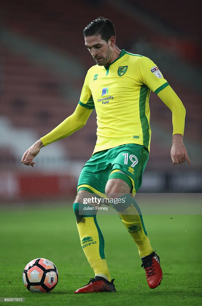 Kyle Lafferty of Norwich in action during The Emirates FA Cup Third Round Replay match between Southampton and Norwich City at St Mary's Stadium on January 18, 2017 in Southampton, England.