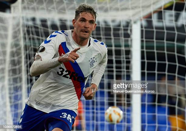 Kyle Lafferty of Rangers celebrates after scoring his sides second goal during the UEFA Europa League Group G match between Villarreal CF and Rangers...