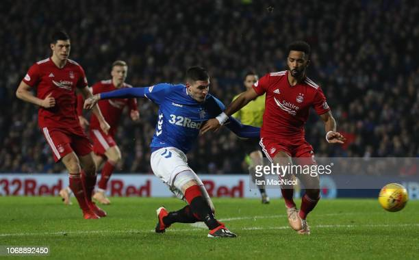 Kyle Lafferty of Rangers shoots at goal during the Scottish Ladbrokes Premiership match between Rangers and Aberdeen at Ibrox Stadium on December 5...