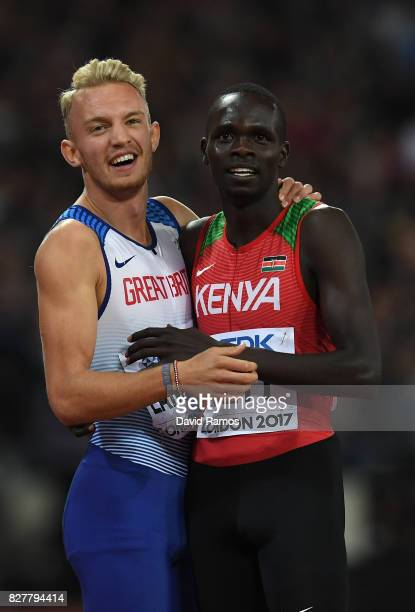 Kyle Langford of Great Britain and Kipyegon Bett of Kenya, bronze, react after the Men's 800 metres final during day five of the 16th IAAF World...