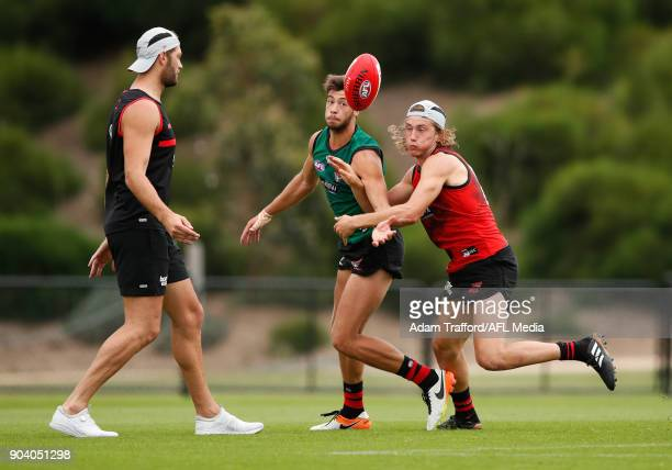 Kyle Langford of the Bombers and Kobe Mutch of the Bombers compete for the ball during the Essendon Bombers training session at The Hangar on January...