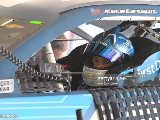 Kyle Larson Chip Ganassi Racing First Data Chevrolet Camaro sits in his car during practice for the Monster Energy Cup Series Folds of Honor Quiktrip...