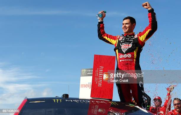 Kyle Larson Driver Of The Cars 3 Target Chevrolet Celebrates In Victory Lane After Winning