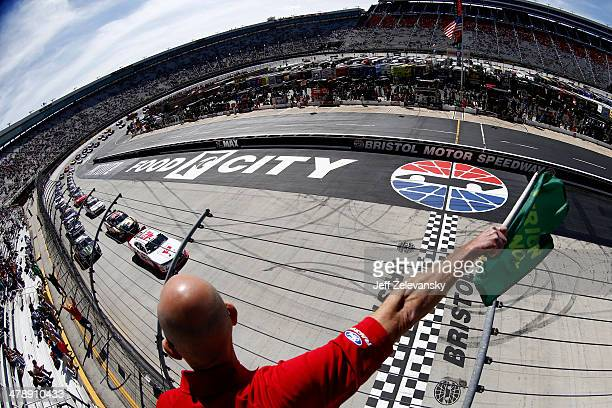 Kyle Larson driver of the Cartwheel Chevrolet leads the field to the green flag to start the NASCAR Nationwide Series Drive To Stop Diabetes 300 at...