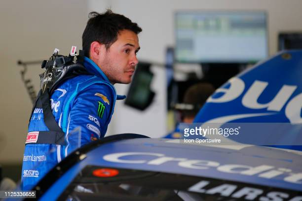 Kyle Larson driver of the Chip Ganassi Racing Credit One Bank Chevrolet Camaro during final practice for the Daytona 500 on February 16 2019 at...