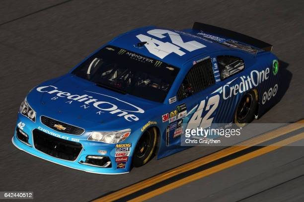 Kyle Larson driver of the Credit One Bank Chevrolet during practice for the Monster Energy NASCAR Cup Series Advance Auto Parts Clash on February 17...