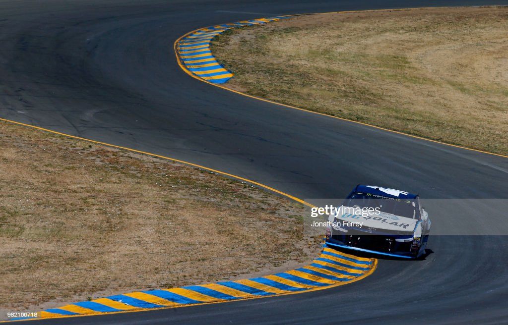 Kyle Larson, driver of the #42 DC Solar Chevrolet, drives during qualifying for the Monster Energy NASCAR Cup Series Toyota/Save Mart 350 at Sonoma Raceway on June 23, 2018 in Sonoma, California.