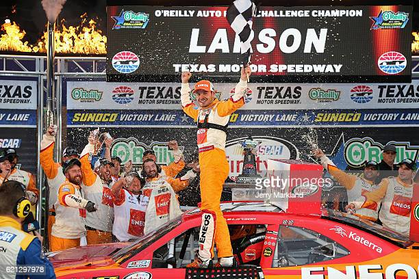 Kyle Larson driver of the ENEOS Chevrolet celebrates in Victory Lane after winning the NASCAR XFINITY Series O'Reilly Auto Parts Challenge at Texas...