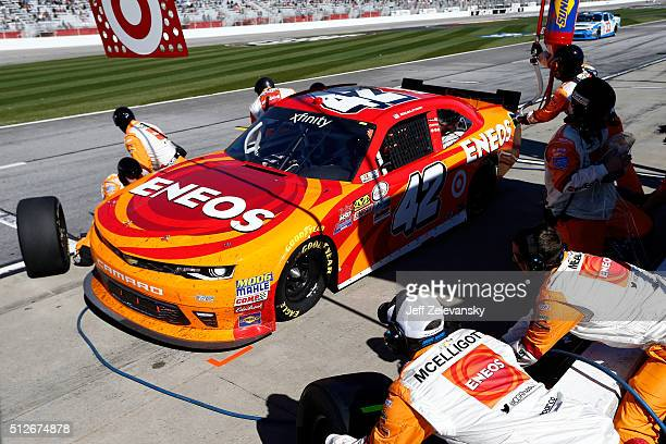 Kyle Larson driver of the ENEOS Chevrolet pits during the NASCAR XFINITY Series Heads Up Georgia 250 at Atlanta Motor Speedway on February 27 2016 in...