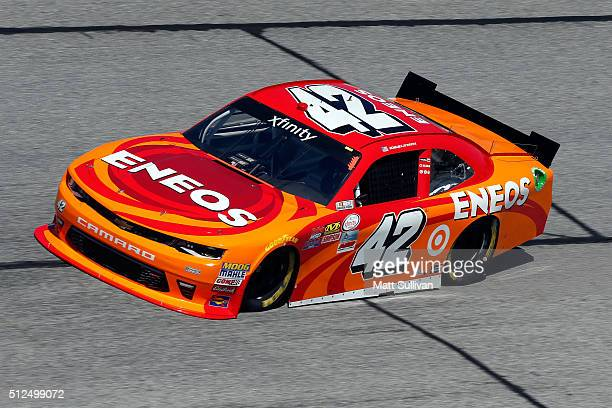Kyle Larson driver of the ENEOS Chevrolet practices for the NASCAR XFINITY Series Heads Up Georgia 250 at Atlanta Motor Speedway on February 26 2016...