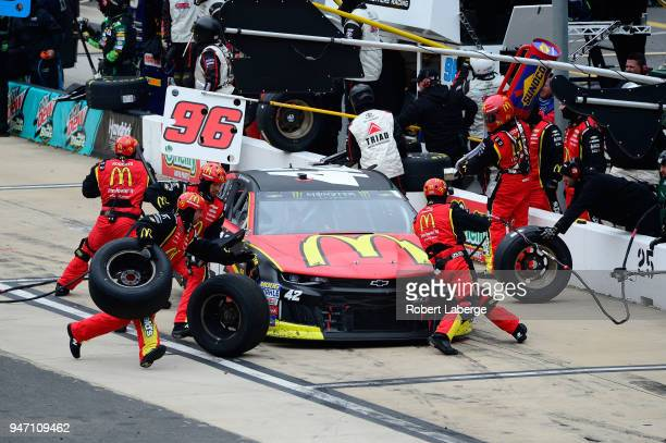 Kyle Larson driver of the McDonald's Chevrolet pits during the rain delayed Monster Energy NASCAR Cup Series Food City 500 at Bristol Motor Speedway...