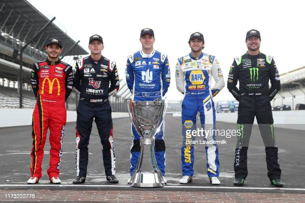 Kyle Larson driver of the McDonald's Chevrolet William Byron driver of the Liberty University Chevrolet Alex Bowman driver of the Nationwide...