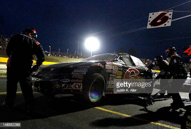 Kyle Larson driver of the Rev Racing Toyota in the pits during the NASCAR KN Pro Series East Samuel 150 on July 14 2012 at CNB Bank Raceway Park in...