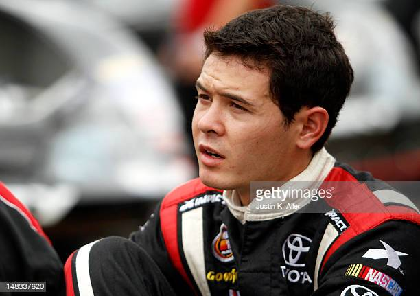 Kyle Larson driver of the Rev Racing Toyota looks on during the NASCAR KN Pro Series East Samuel 150 on July 14 2012 at CNB Bank Raceway Park in...