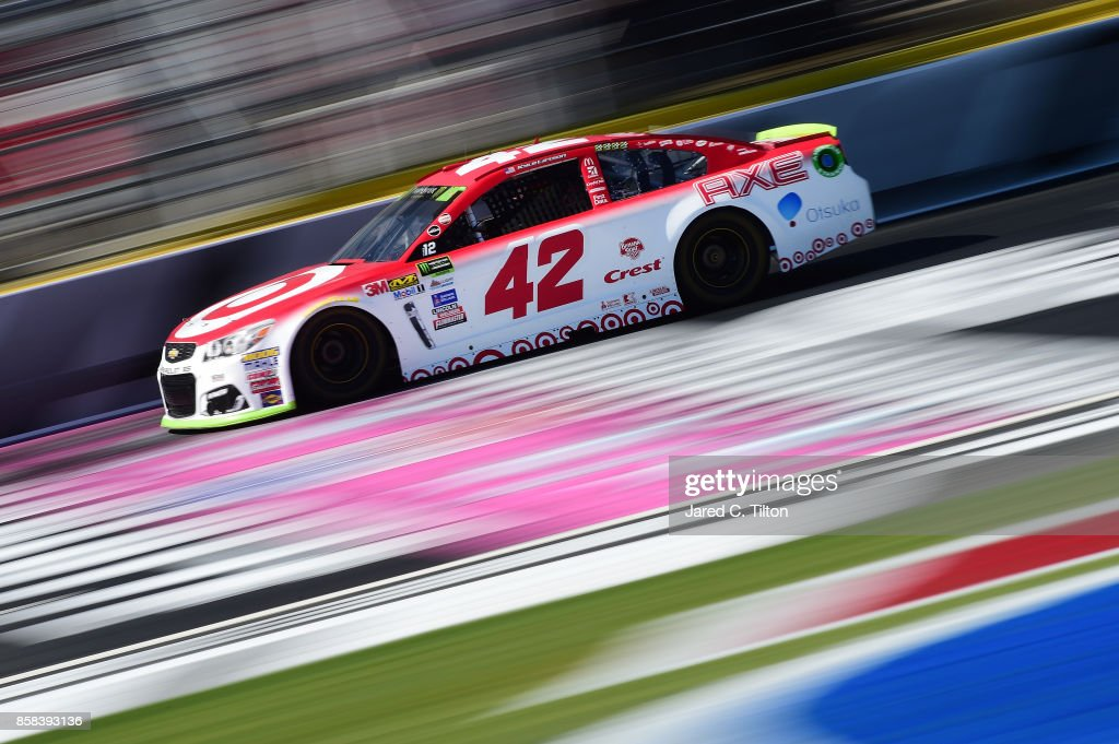 Kyle Larson, driver of the #42 Target Chevrolet, drives during practice for the Monster Energy NASCAR Cup Series Bank of America 500 at Charlotte Motor Speedway on October 6, 2017 in Charlotte, North Carolina.