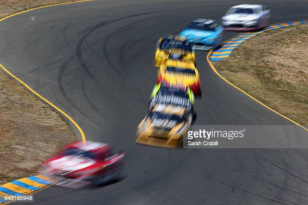 Kyle Larson driver of the Target Chevrolet leads a pack of cars during the NASCAR Sprint Cup Series Toyota/Save Mart 350 at Sonoma Raceway on June 26...