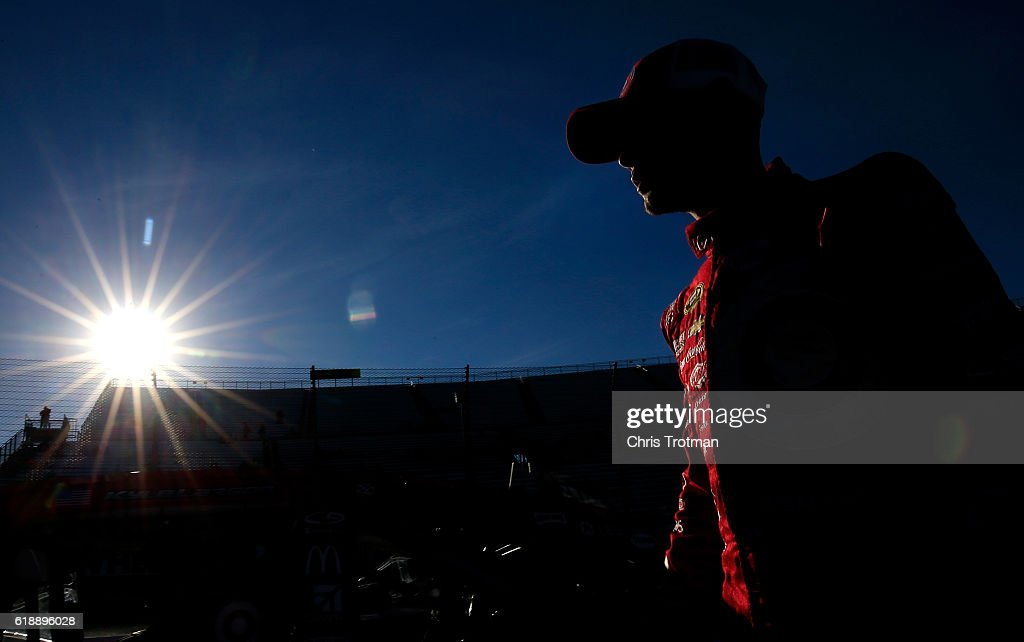 Kyle Larson, driver of the #42 Target Chevrolet, looks on during qualifying for the NASCAR Sprint Cup Series Goody's Fast Relief 500 at Martinsville Speedway on October 28, 2016 in Martinsville, Virginia.