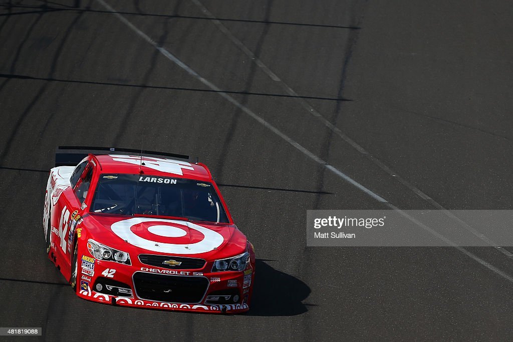 Kyle Larson, driver of the #42 Target Chevrolet, practices for the NASCAR Sprint Cup Series Crown Royal Presents the Jeff Kyle 400 at the Brickyard at Indianapolis Motorspeedway on July 24, 2015 in Indianapolis, Indiana.