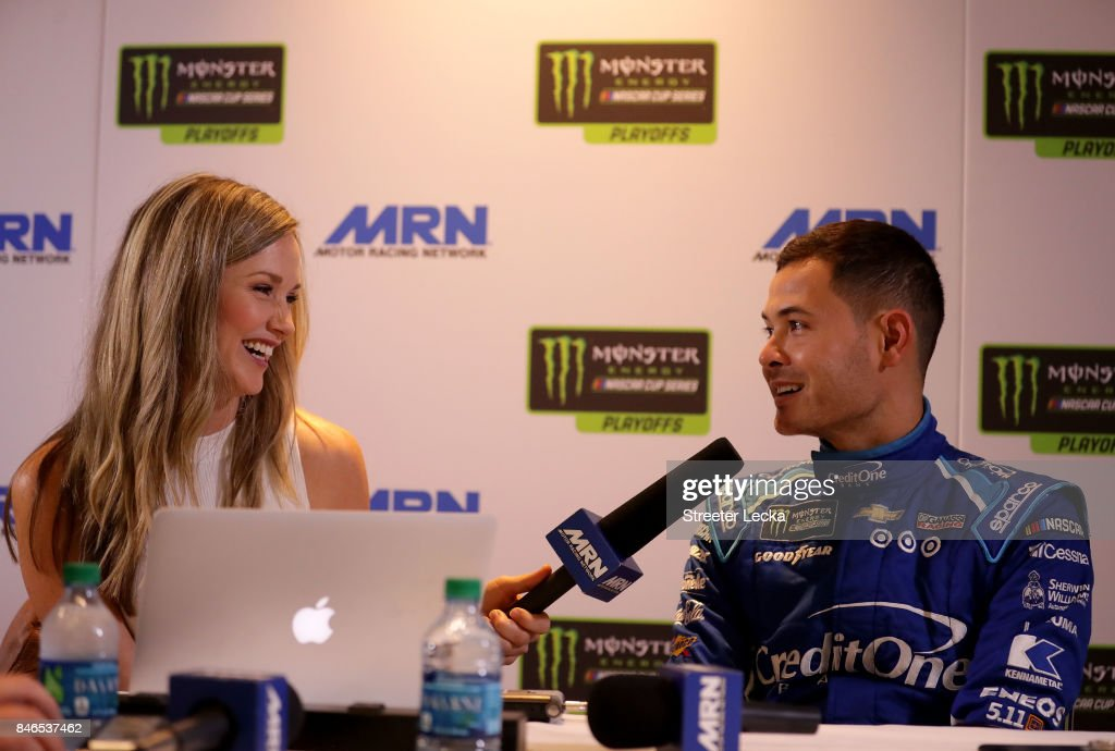 Kyle Larson speaks to the media as one of the 16 drivers eligible to win the Monster Energy NASCAR Cup Series Championship during the 2017 NASCAR Playoffs Production & Media Day at NASCAR Hall of Fame on September 13, 2017 in Charlotte, North Carolina.