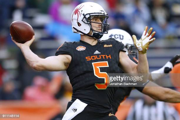 Kyle Lauletta of the South team throws the ball during the second half of the Reese's Senior Bowl against the the North team at LaddPeebles Stadium...