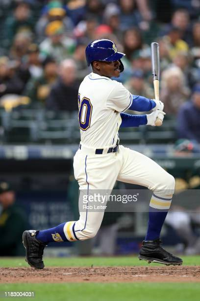 September 29: Kyle Lewis of the Seattle Mariners bats during the game against the Oakland Athletics at T-Mobile Park on September 29, 2019 in...
