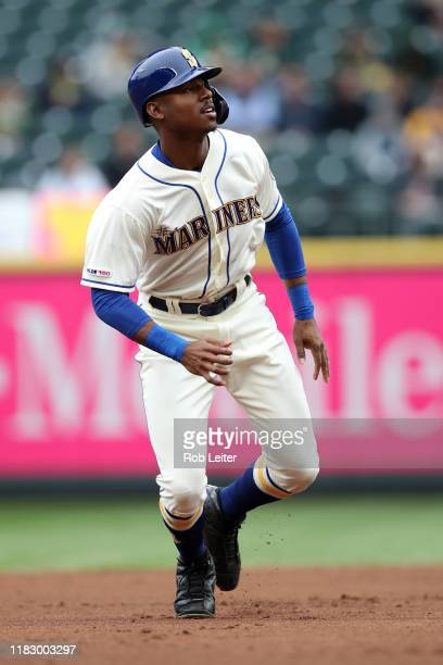 September 29: Kyle Lewis of the Seattle Mariners leads off during the game against the Oakland Athletics at T-Mobile Park on September 29, 2019 in...