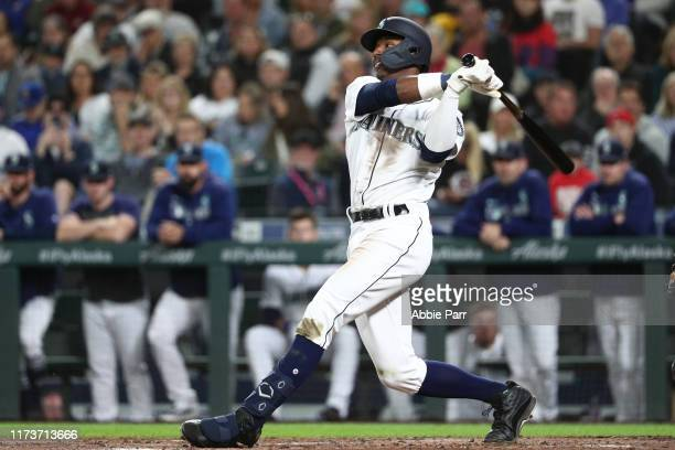 Kyle Lewis of the Seattle Mariners swings at a pitch during his first career MLB at bat in the second inning against the Cincinnati Reds during their...