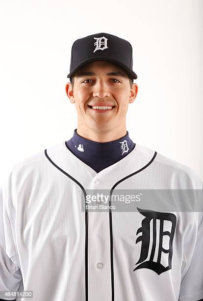 Kyle Lobstein of the Detroit Tigers poses for a photo during the Tigers' photo day on February 28 2015 at Joker Marchant Stadium in Lakeland Florida