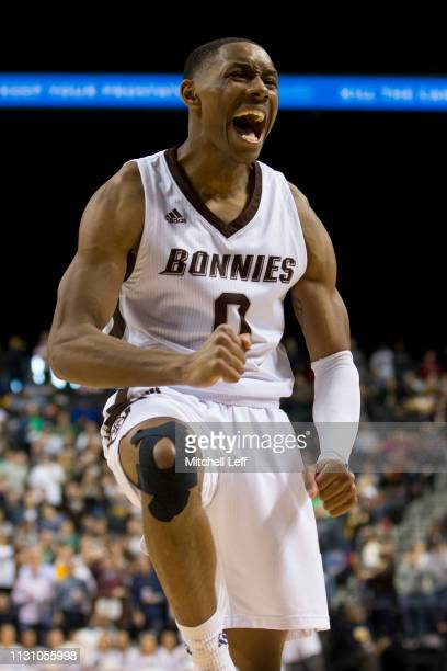 Kyle Lofton of the St Bonaventure Bonnies reacts against the Rhode Island Rams during the semifinals of the Atlantic 10 2019 tournament at the...