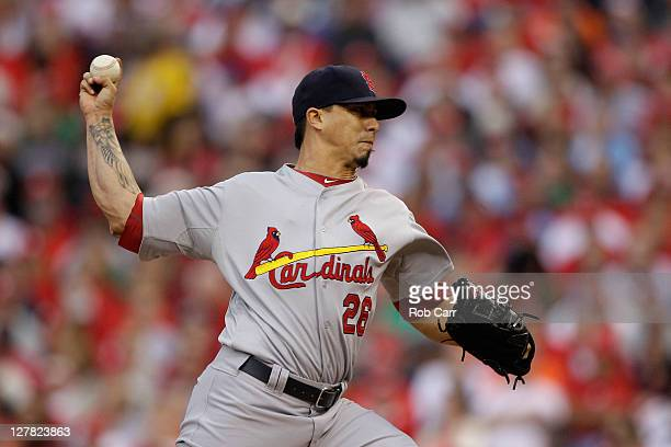 Kyle Lohse of the St Louis Cardinals throws a pitch in the first inning against the Philadelphia Phillies during Game One of the National League...
