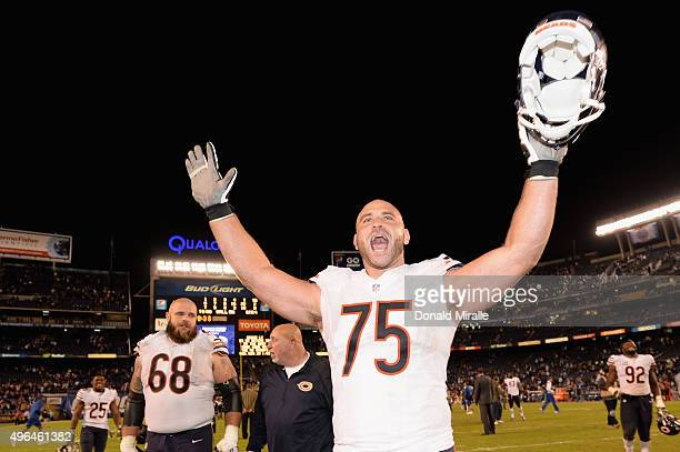 Kyle Long of the Chicago Bears celebrates after the Bears defeated the San Diego Chargers 2219 at Qualcomm Stadium on November 9 2015 in San Diego...