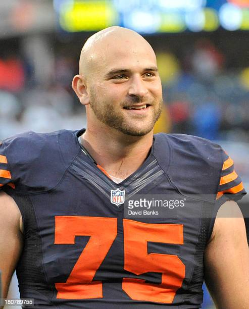 Kyle Long of the Chicago Bears celebrates the win against the Minnesota Vikings on September 15 2013 at Soldier Field in Chicago Illinois