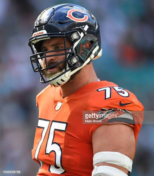 Kyle Long of the Chicago Bears in action against the Miami Dolphins at Hard Rock Stadium on October 14 2018 in Miami Florida