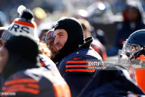 Kyle Long of the Chicago Bears sits on the bench during the game against the Detroit Lions at Soldier Field on November 19 2017 in Chicago Illinois