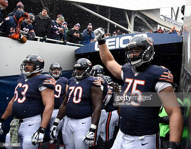Kyle Long of the Chicago Bears takes the field with his team on November 16 2014 at Soldier Field in Chicago Illinois