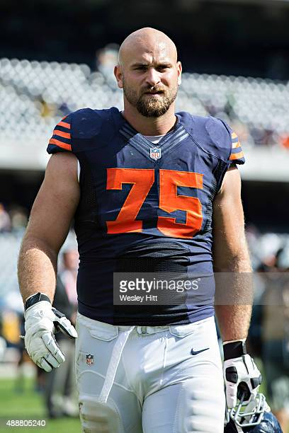 Kyle Long of the Chicago Bears walks off the field after a game against the Green Bay Packers at Soldier Field on September 13 2015 in Chicago...