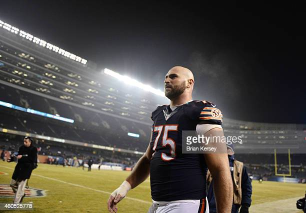 Kyle Long of the Chicago Bears walks off the field after their loss to the New Orleans Saints at Soldier Field on December 15 2014 in Chicago...