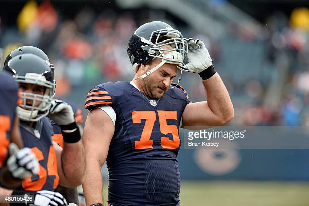 Kyle Long of the Chicago Bears walks off the field after warmups before the NFL game against the Tampa Bay Buccaneers on November 23 2014 at Soldier...