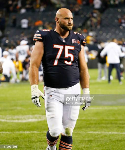 Kyle Long of the Chicago Bears walks off the field at the end of his team's 103 loss to the Green Bay Packers at Soldier Field on September 05 2019...