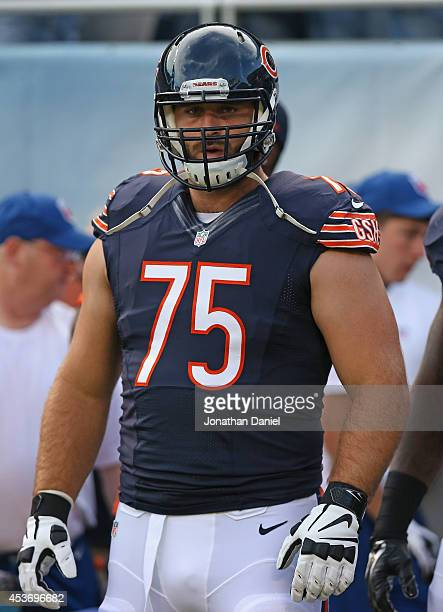 Kyle Long of the Chicago Bears warms up prior to a preseason game against the Jacksonville Jaguars at Soldier Field on August 14 2014 in Chicago...