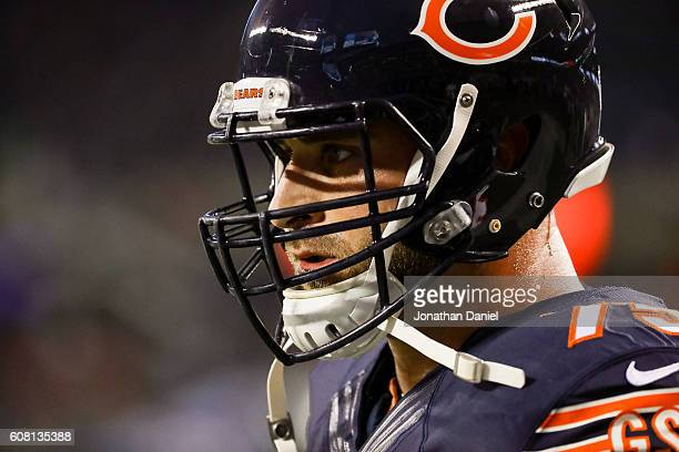 Kyle Long of the Chicago Bears warms up prior to the game against the Philadelphia Eagles at Soldier Field on September 19 2016 in Chicago Illinois