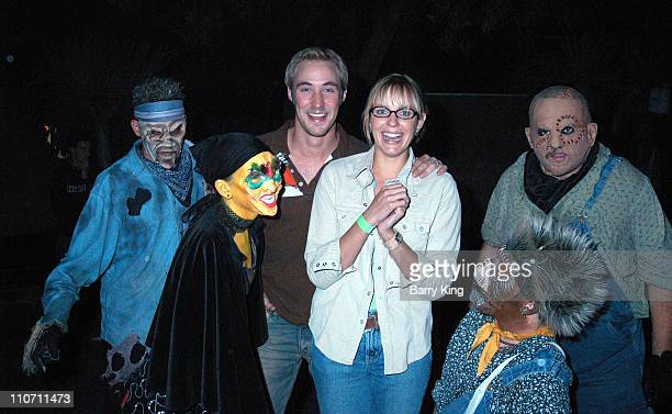 Kyle Lowder wife Arianne Zuker and mosters during Days Of Our Lives Stars Visit Knott's Berry Farms Halloween Haunt at Knott's Berry Farm in Buena...