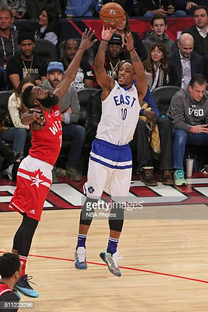 Kyle Lowery of the East shoots the ball against James Harden of the West during the NBA AllStar Game as part of the 2016 NBA AllStar Weekend on...
