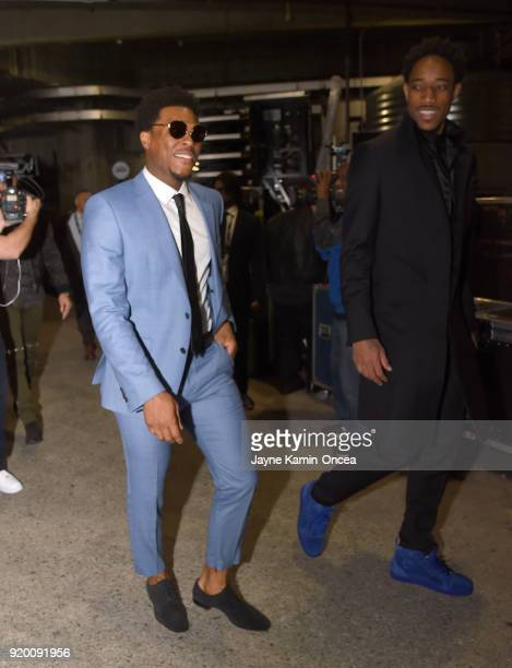 Kyle Lowry and DeMar Derozan arrive to the NBA AllStar Game 2018 at Staples Center on February 18 2018 in Los Angeles California
