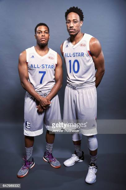 Kyle Lowry and DeMar DeRozan of the Eastern Conference AllStars poses for a portrait during the NBA AllStar Game as part of 2017 AllStar Weekend at...
