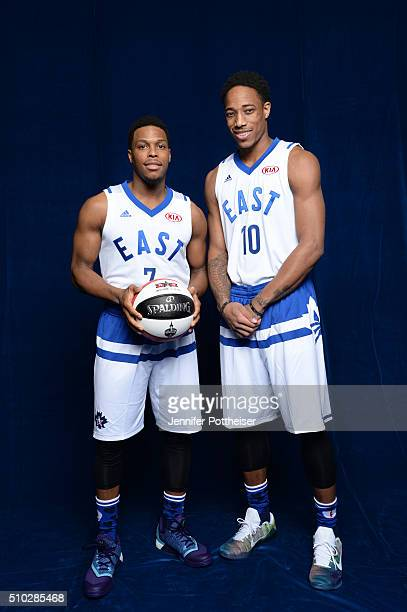 Kyle Lowry and DeMar DeRozan of the Eastern Conference AllStars team pose for a portrait before the NBA AllStar Game on February 14 2016 at the Air...